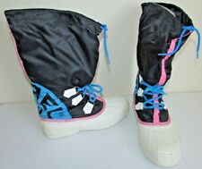 Vintage Sorel Snow Boots Pipedogs Size 8 Womens 1990's Neon snowboard Winter