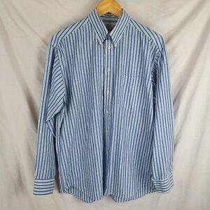 Vintage Men's Blue White Green Striped St Michael M&S Long Sleeve Shirt Size 15½