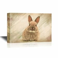 wall26 - Canvas Wall Art - Baby Rabbit on Abstract Background - 12x18 inches