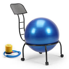 Yoga Ball Chair Balance Ball Chair with Back Support with 55cm Blue Yoga Ball