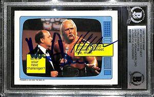 Hulk Hogan & Mean Gene Okerlund Signed 1985 Topps WWE Rookie Card #57 RC BAS COA