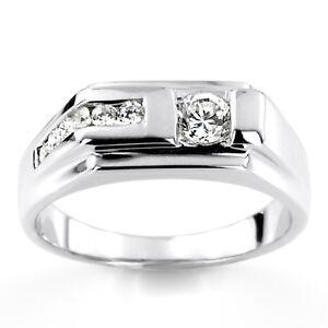 14K Weiß Gold Herren Ring 0.45 Karat Original Diamant Verlobung Band Größe U V W