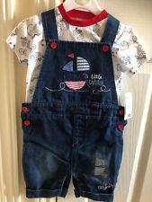 Cute Baby Boy Toddler Denim Dungeree Tshirt Set 18M-2yrs Bnwt