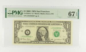 STAR NOTE - PMG Graded 67 EPQ $1 2003 FR1929-L* FRN - Error Replacement *768