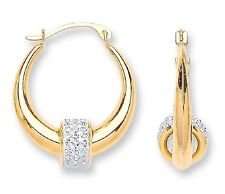 9CT HALLMARKED YELLOW GOLD POLISHED ROUND FLOATING CRYSTAL BALL HOOP EARRINGS