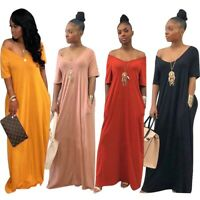 Women's Loose T-Shirt Long Maxi Dress Pocket Evening Party Solid Dress Summer