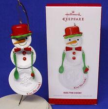 Hallmark Ornament Kiss the Cook 2013 Snowman Plates Kitchen Utensils Chef NIB