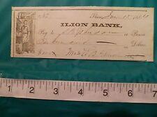 1864 CIVIL WAR ERA ILION BANK CHECK, FREE U.S. SHIPPING, FREE PROTECTIVE HOLDER