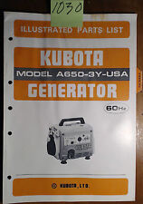 Kubota A650-3Y-USA Generator Illustrated Parts List Manual 07909-54420