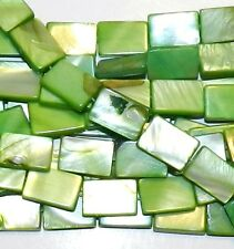 """MP467e Green 15mm Flat Rectangle Mother of Pearl Gemstone Shell Beads 15"""""""