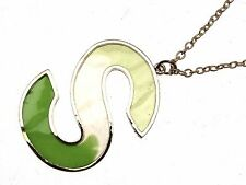 Green Pendant Necklace Letter S on a gold coloured metal chain design 1038