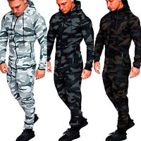 Men Tracksuit Set Hoodie Sweatshirt Sweats Pants Jogger Camo Sportswear Outfits