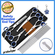 Best 6Pcs Pet Dog Cat Grooming Scissors Set Straight Curved Thinning Shears Kit