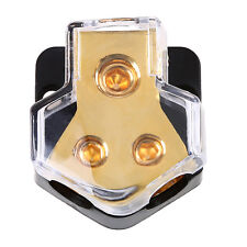 Car Audio 1 in 2 out Power Distributor Block Plastic Metal Fuse Holder Golden