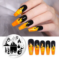 NICOLE DIARY Nail Art Stamping Plates Fire Image Stencil Plate Stamping Tools