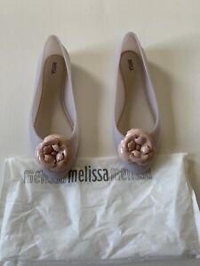 NIB Melissa DOLL Pink & Beige Florette Rubber Ballet Flat SZ 10 US Jelly $105