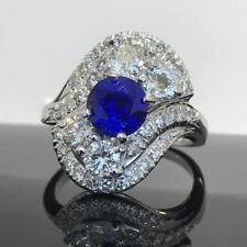 1.50ct Vivid Blue Sapphire and Diamond Estate Ring set in 14K White Gold