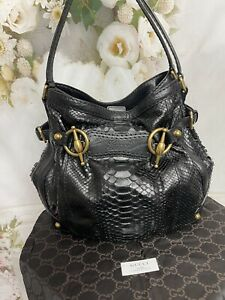 Gucci Genuine Black Python Medium Jockey tote Mint Condition STUNNING MSRP$3660