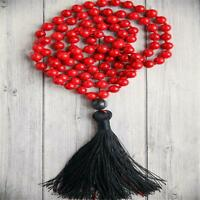 8mm Red Coral Gemstone 108 Beads Tassel mala Necklace Meditation Spiritua Chakra