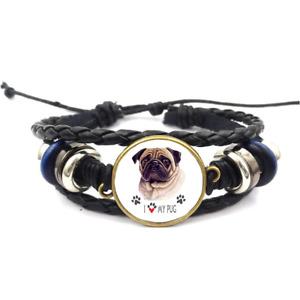 I Love My Pug Glass Cabochon Bracelet Braided Leather Strap Bracelets