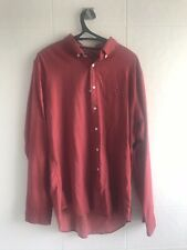 Tommy Hilfiger Mens Shirt LARGE Long Sleeve Red New York Fit  Cotton