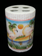 New Pink Flamingo Tropical Beach Toothbrush Holder Ceramic Bathroom Accessory