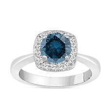 ENHANCED FANCY BLUE DIAMOND ENGAGEMENT RING HALO PAVE 1.23 CARAT 18K WHITE GOLD