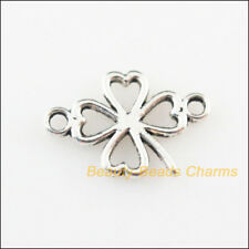 30 New Connectors Clover Flowers Tibetan Silver Tone Charms 11x16.5mm