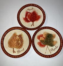 "MWW Market Fall Autumn Leaves 4-1/2"" Mini Plate Set Of 3 Plates"