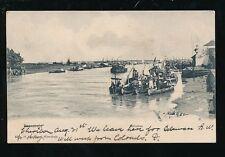Indonesia SOERABAJA Kaliemas native boats river scene 1906 u/b PPC Cheribon pmk