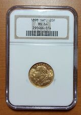 1898 Switzerland Gold 20 Francs NGC MS64