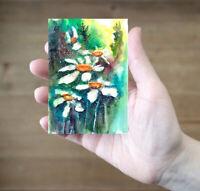 ACEO Daisies flowers original painting watercolor art card