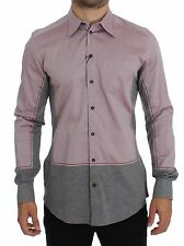 NWT $420 DOLCE & GABBANA Red Gray GOLD Slim Fit Casual Mens Shirt s. 39 / S