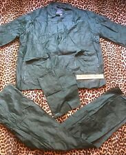 FRENCH 1960s MEN OUTDOOR RAINCOAT SUIT~HOODED JACKET & PANTS~WORK/FISHING~NEW~M