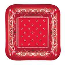 """8 ct RED BANDANA West Western Cowboy   9"""" Paper Plates Birthday Party Tableware"""