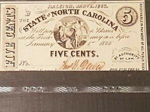 ➡➡ US 1863 CIVIL WAR- North Carolina PMG 62EPQ UNCIRCULATED - 5 cents NCCR148