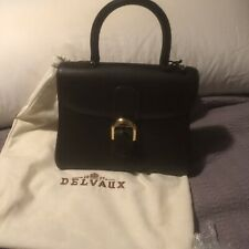 Authentic DELVAUX Logos Le Brillant Hand Bag Black Leather Vintage