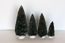 Lot Dept 56 Christmas Bottle Brush Sisal Red Beads Trees Village Accessory 4Pcs