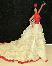 """MARIN Large 18"""" Spanish Flamenco Dancer Doll In Red Dress w/IVORY LACE LOVELY"""