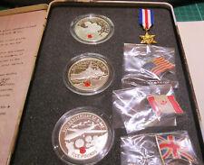 2004 JERSEY Guernsey ALDERNEY 60TH ann. D DAY SBARCO ARGENTO PROOF 3 MEDAGLIA Set