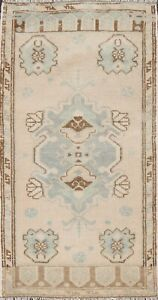 Vintage Geometric Oushak Turkish Oriental Area Rug Hand-knotted Wool CARPET 2x3