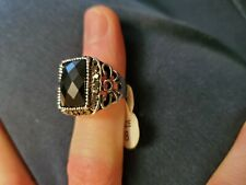 Gold Plated Party Size 8 Fancy Fashion Black Crystal Mens Jewelry Big Ring White