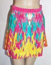 KOOKAI Designer Multi Coloured SILK Tucan Mini Skirt Size 34 BNWT #TB112