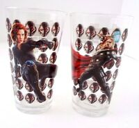 Marvel Avengers Age of Ultron Black Widow Thor 2 piece set Glass Cup Height 6'
