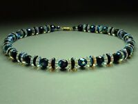 1970's Vintage Iris Iridescent Faceted Glass & Aurora Borealis bead Necklace