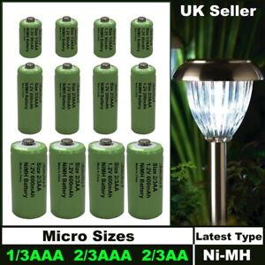 1/3AAA 2/3AAA 2/3AA Mini Rechargeable Solar Light Batteries NiMH Tiny Sizes