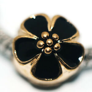 1x Black Flower Bead Charms Spacer Fit Eupropean Chain Bracelet Making Jewelry