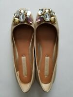 Bcbg Maxazria Womens Leather Ballet Flats Shoes Crystal Embellished Size 6B /36