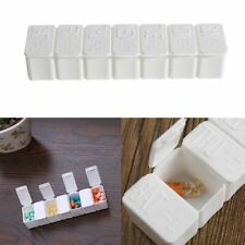 7 Day Pill Box With Clip Lids Medicine Organiser Tablet Storage Dispenser Weekly
