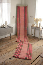 Vintage European RAG RUG long stair runner pink red hallway carpet